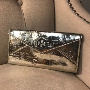 Tory Burch Envelope Clutch Purse Silver Metallic